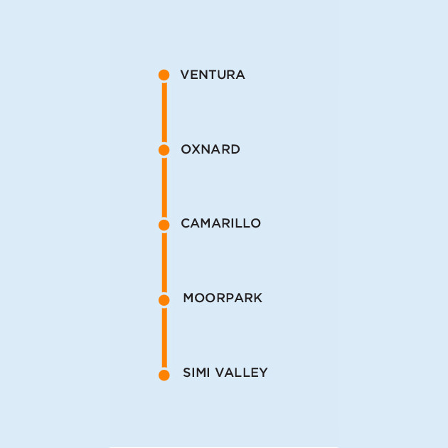 VCTC East-West Connector Map Legend - Click Here for Schedule