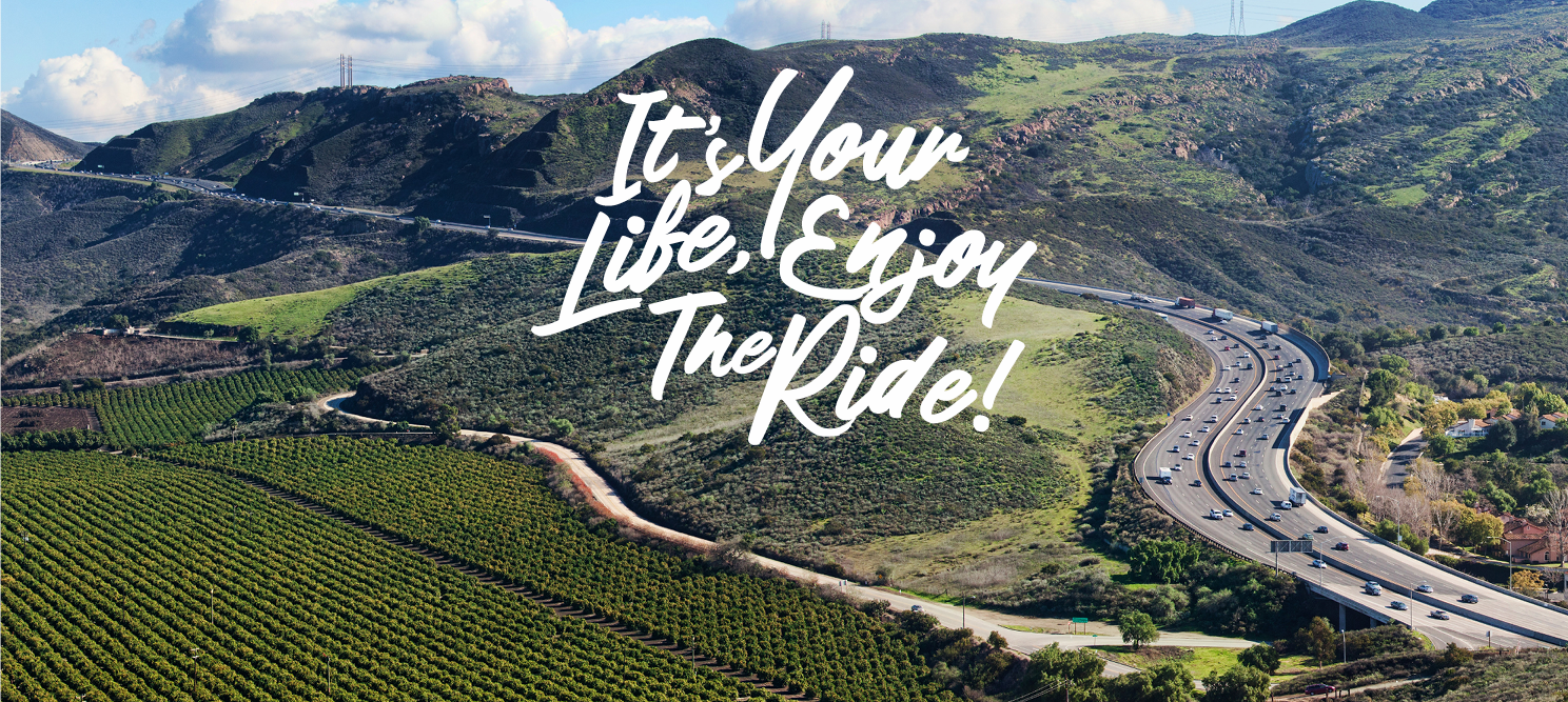Its your life, emjpy the ride with farmland as background image